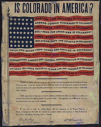 """Western Federation of Miners - Famous Western Federation of Miners flyer entitled """"Is Colorado in America?"""""""