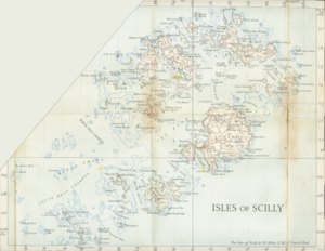 A map of the Isles of Scilly from 1945