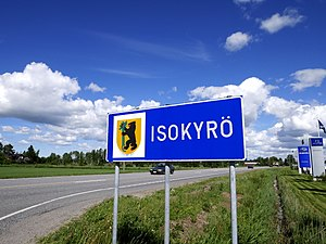 Isokyrö municipal border sign 2017.jpg
