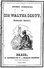 Couverture d'un livre en noir et blanc portant le titre Œuvres complètes de Walter Scott et illustré par un soldat du XIXesiècle assis
