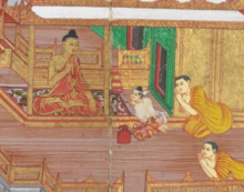 A white-clad man is sitting in a respectful pose talking to the Buddha in a pavilion. Two monks are sitting behind the white-clad man.