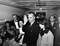 JFK Presidential Library - Swearing-in ceremony aboard Air Force One LBJ as President (04).jpg