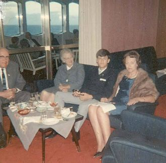 Swedish American Line - Birgit Ridderstedt (right) and son Lars after his 18th birthday dinner in First Class on the Gripsholm in 1966