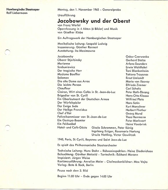 Playbill of the premiere Jacobowsky und der Oberst (Klebe) playbill.jpg