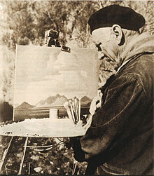 Jacobus Hendrik Pierneef at work (before 1957)