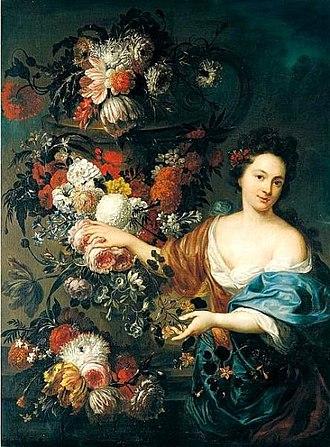 Jan Baptist Bosschaert - Still life of flowers with a young woman.jpg