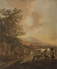 Ox-cart in an Italian Landscape