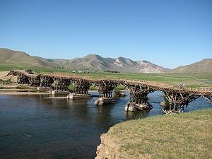 Ider River - Wooden bridge near Jargalant.