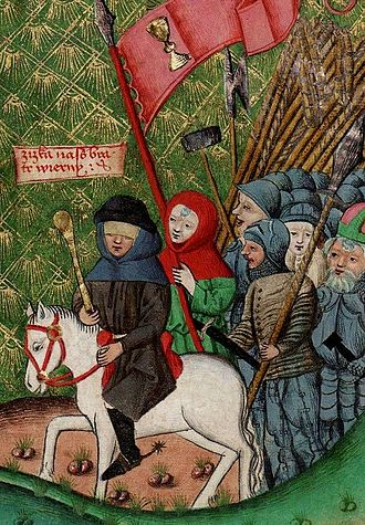 Jan Žižka - Jan Žižka leading his troops (illumination from the late 15th century)