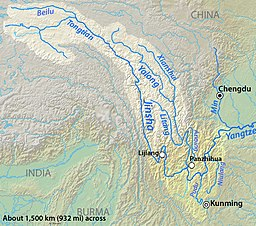 Map of the Jinsha River drainage basin