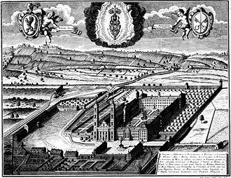 Weissenau Abbey - Engraving of Weissenau Abbey, Johann Mathias Steidlin, 1734