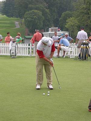 John Daly on the putting green at the Congress...