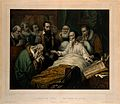 John Calvin on his deathbed, with members of the Church in a Wellcome V0006910.jpg