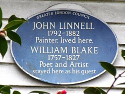 Photo of John Linnell and William Blake blue plaque