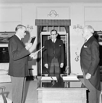 John McEwen - McEwen being sworn in as Prime Minister on 19 December 1967.