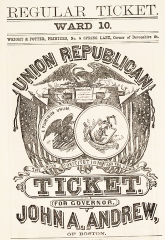 John Albion Andrew - A historical election poster promoting Andrew for governor
