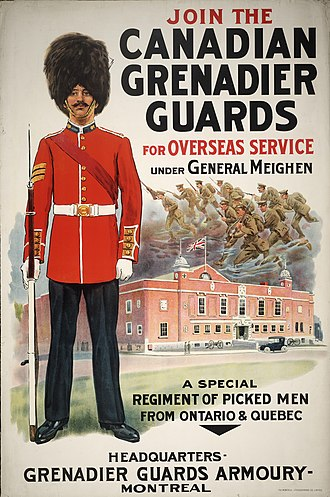 The Canadian Grenadier Guards - World War I recruitment poster for the Canadian Grenadier Guard.