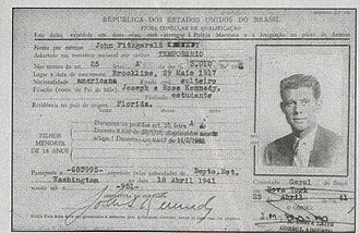 Travel visa - Tourist visa for John F. Kennedy to travel to Brazil, issued by the Brazilian    government in 1941