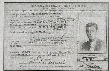 Tourist visa for John F. Kennedy to travel to Brazil, issued by the Brazilian government in 1941