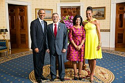 Cape Verdean President Jorge Carlos Fonseca And Ligia Meet With The Us Barack Michelle In 2017
