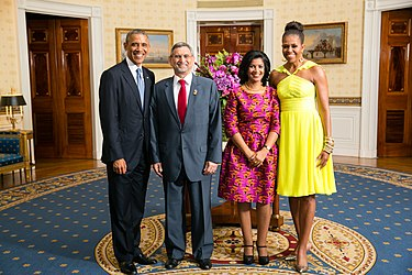 Cape Verdean President Jorge Carlos Fonseca and Ligia Fonseca meet with US President Barack Obama and Michelle Obama in 2014. Jorge Carlos Fonseca with Obamas 2014.jpg