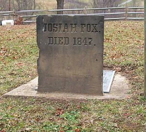 Josiah Fox - Fox's stone in Concord Hicksite Cemetery.