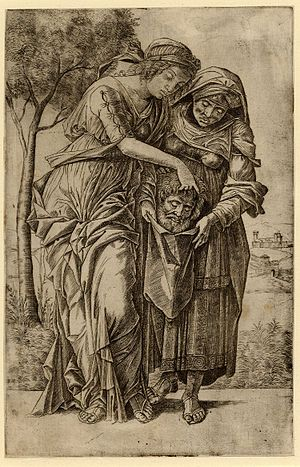 State (printmaking) - Girolamo Mocetto, Judith with the Head of Holofernes (1500/05), engraving after Andrea Mantegna, second state. In the first state the background is plain; the landscape of state II was probably added some years later.