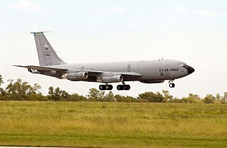 190th Air Refueling Wing - A Kansas ANG KC-135E landing after its last mission before retirement, 2004.
