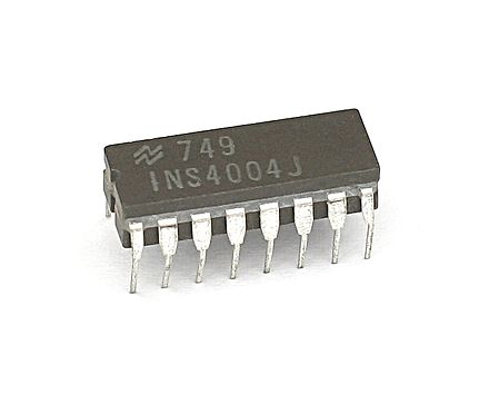 National Semiconductor was a second source manufacturer of the 4004, under their part number INS4004. KL National INS4004.jpg