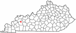 Location of Hanson within Kentucky.