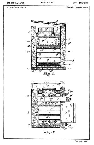 """Electric stove - Drawings submitted on 29 November 1905 when David Curle Smith obtained an Australian patent (No. 4699/05) for his """"electric cooking stove"""", also known as """"The Kalgoorlie Stove""""."""