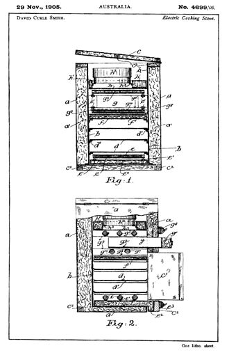 "Australian patent (1905) for an ""electric cooking stove"", also known as ""The Kalgoorlie Stove"". Kalgooorlie stove patent drawing.jpg"