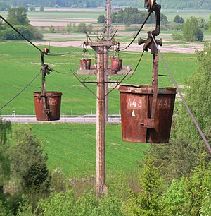 Ropeway conveyor - View along the Forsby-Köping limestone cableway, Sweden
