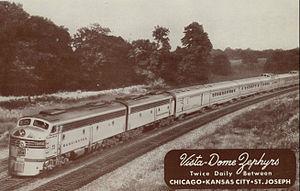 American Royal Zephyr - Postcard photo of the train.