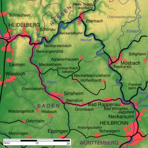 Strecke der Elsenztalbahn