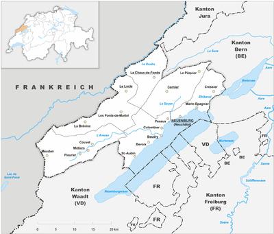Map of Neuchâtel