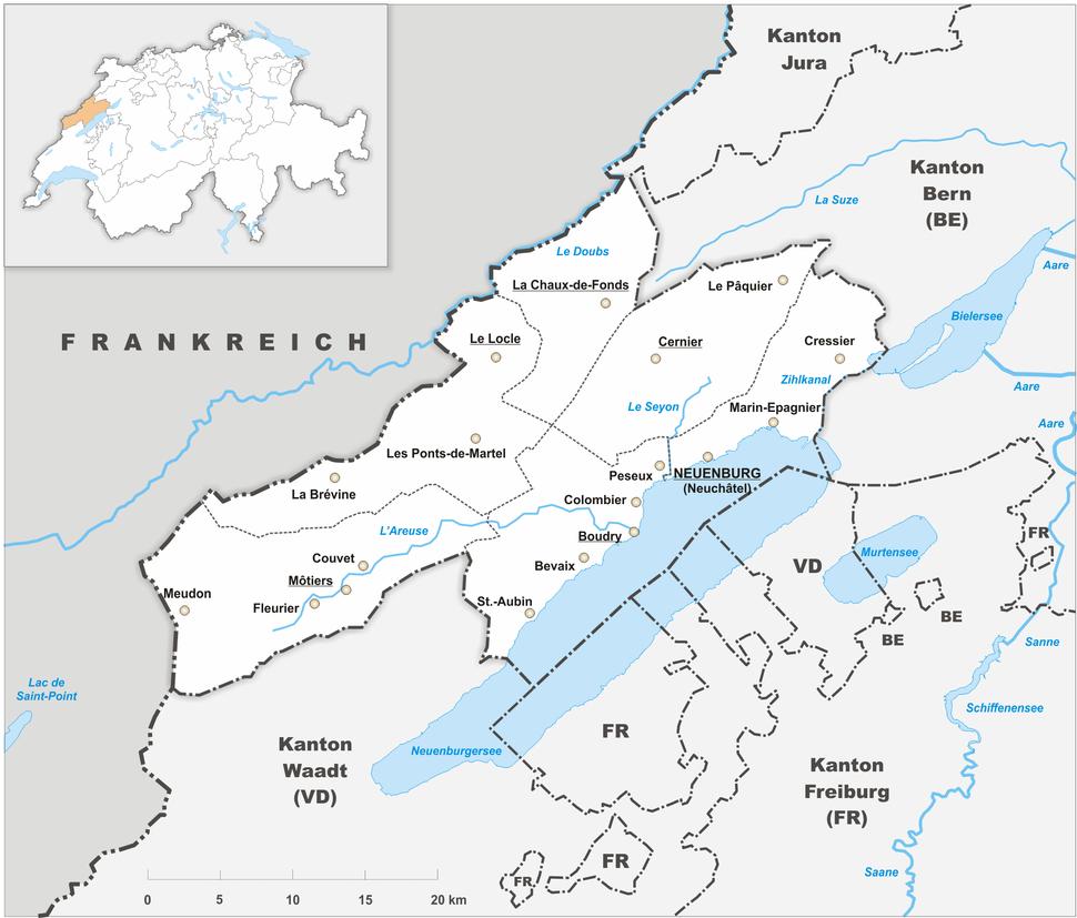 Karte Kanton Neuenburg 2010
