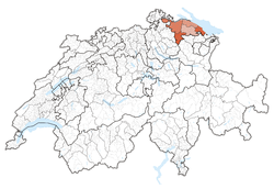 Cairt o Swisserland, location o Thurgau highlighted