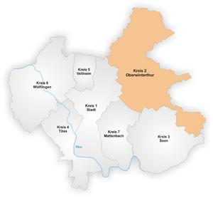 Oberwinterthur - Image: Karte Winterthur Stadtkreis 2