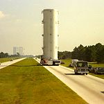Kennedy Space Center - Shuttle payload moving from VAB to Pad 39A - panoramio.jpg