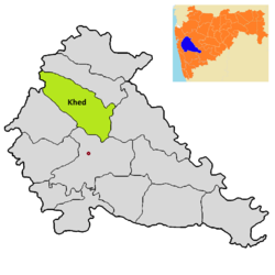 Location of Khed (Rajgurunagar) in Pune district in Maharashtra