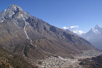 Khumbu - The Khumbila mountain rising above Khumjung and Kunde, two of the larger villages in the area, with Mount Everest, Lhotse and Ama Dablam in the background.