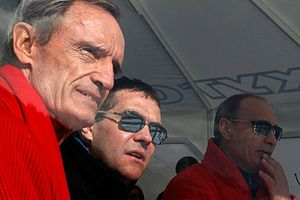 Rosa Khutor Alpine Resort - Jean-Claude Killy, Dmitry Medvedev, and Vladimir Putin at the European Cup events at Rosa Khutor in February 2011