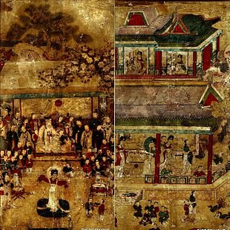 King Mu of Zhou - Joseon Korean painting Yoji yeondo (요지연도) depicting King Mu of Zhou visiting the goddess Queen Mother of the West at Yaochi in the mythical mountain Kunlun.