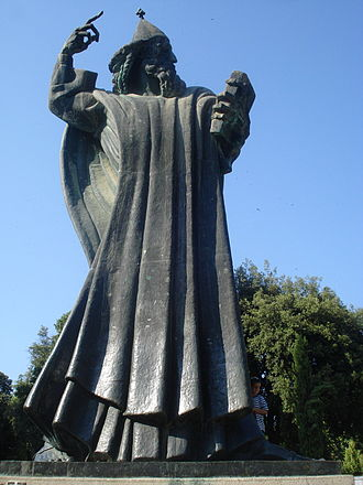 Split, Croatia - Statue of bishop Gregory of Nin, in the Giardin Park