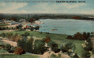 Aerial photography - Antique postcard using kite photo technique. (circa 1911)