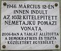 Kitelepítési emléktábla Pomázon.jpg