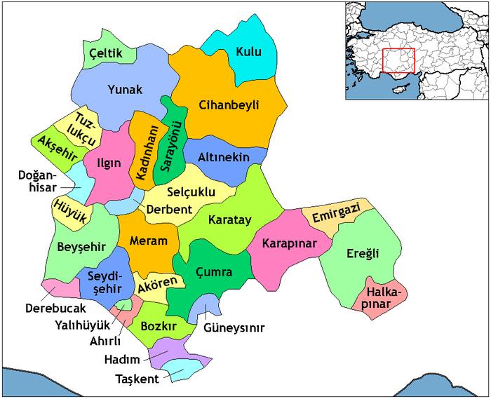 Konya'nın ilçeleri.