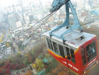 Namsan cable car - The view from the cable car.