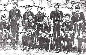 Imperial Japanese Army - Soldiers of the Imperial Japanese Army during the Satsuma Rebellion, Garrison of Kumamoto, 1877.